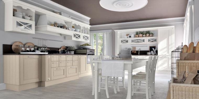 Cucina bianca e grigia Shabby